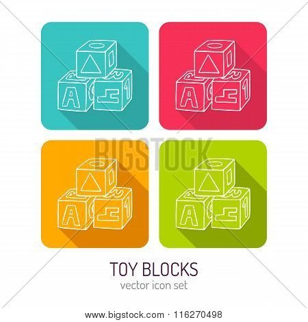 Vector Line Art Toy Blocks For Kids Icon Set In Four Color Variations With Long Shadows
