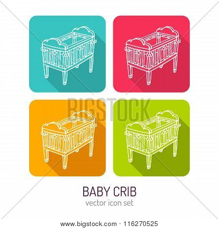 Vector Line Art Baby Crib Icon Set In Four Color Variations With Long Shadows