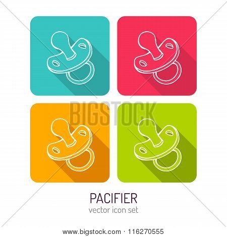 Vector Line Art Baby Pacifier Mobile Icon Set In Four Color Variations With Long Shadows