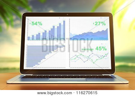 Business Graph On Laptop Screen On Wooden Table At Ocean Background