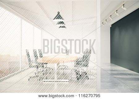 Modern Conference Room With Furniture, Blackboard And Transparent Wall