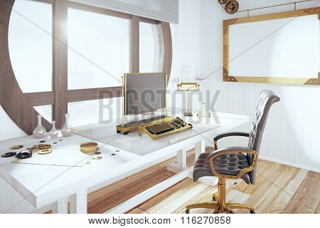 Steampunk Style Room With Vintage Typewriter And Blank Wooden Picture Frame, Mock Up