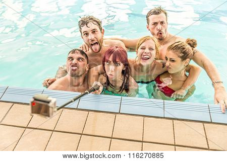 Friends Taking Selfie In Pool