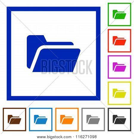 Folder Open Framed Flat Icons