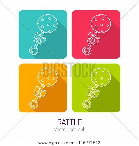 Vector Line Art Baby Rattle Icon Set In Four Color Variations With Long Shadows