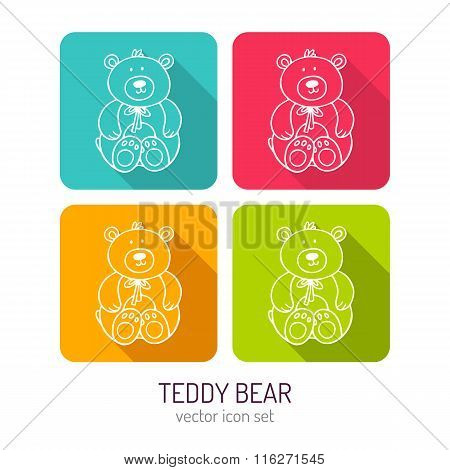 Vector Line Art Toy Teddy Bear Icon Set In Four Color Variations With Long Shadows