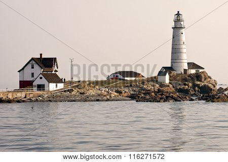 Boston Harbor Lighthouse In Early Summer Evening