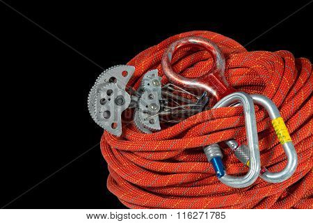 Climbing Equipment On Black Background