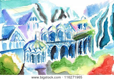 Fantasy Abstract Colorful Elven Kingdom Town Buildings