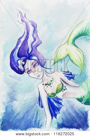 Watercolor Women Girl Mermaid Siren Fish Underwater