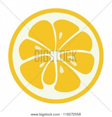 Yellow lemon grapefruit stylish  icon. Juicy fruit logo