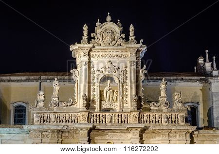 Detail Of Lecce Cathedral Facade, Iconic Landmark In Salento, Italy