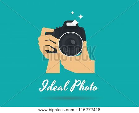 Photographer hands with camera flat illustration for icon or logo template