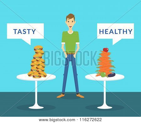 Thin man standing between tasty burgers and healthy carrots choosing what better for him