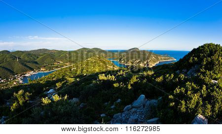 Aerial view of mediterranean coast around Porto Koufo harbor, west coast of Sithonia