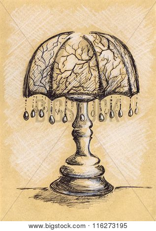 Vintage Lamp With Suspensions Ink Craft Sketch