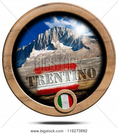 Mountains Of Trentino - Wooden Symbol