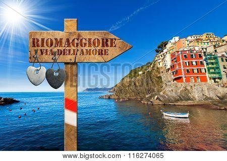 The way of love sign (via dell'amore) in Riomaggiore village cinque terre national park in Liguria Italy