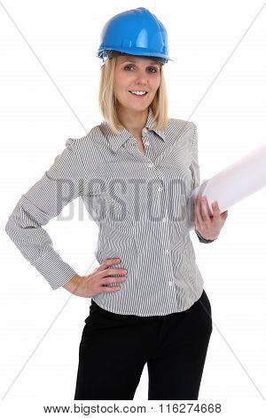 Architect Young Female With Plan Woman Occupation Job Isolated