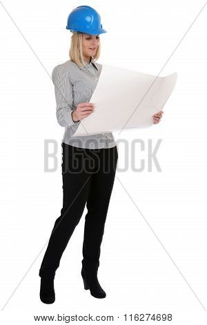 Architect Young Woman With Plan Woman Occupation Full Body Isolated