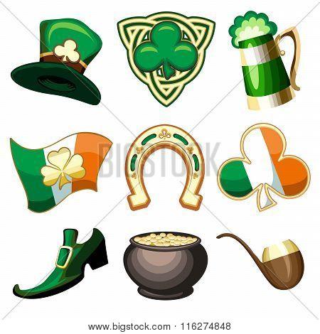 Saint Patricks Day Emblem Set