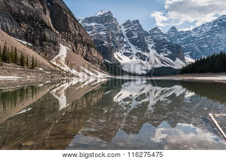 Valley Of Ten Peaks Glaciers Reflecting On Moraine Lake