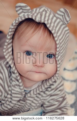 Cute Baby In Hood With Ears