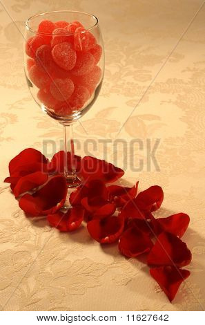 Hearts & Rose Petals Wine Glass