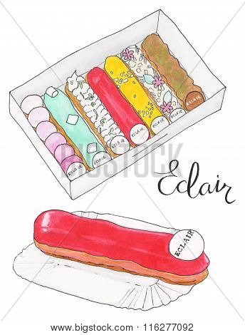 Eclair Set With French Eclairs And Calligraphy. Cakes In Box And Single Cake On The White Background