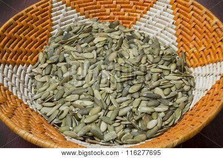 Pumpkin Seeds In Native American Basket