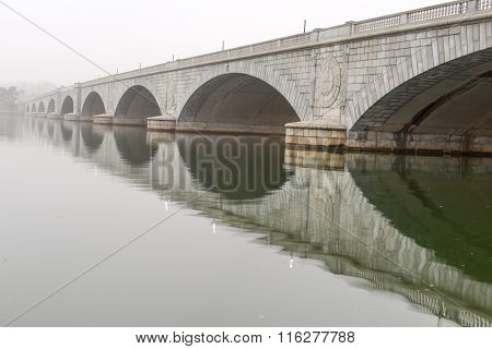 Arlington Memorial Bridge in fog - Washington DC USA