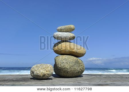 Zen Stones Stacked Blue Sky Copy Space