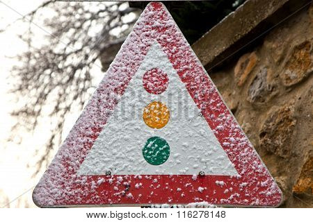 traffic sign in snow in Vienna Austria