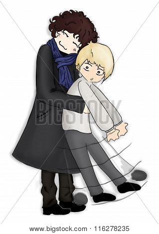 Hug Pair Man Anime Manga Kawaii Chibi Cartoon