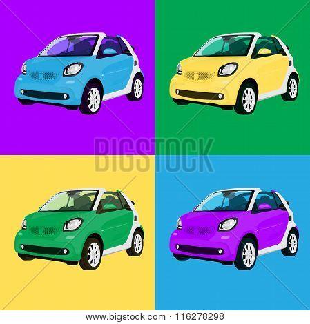Print four small city  car