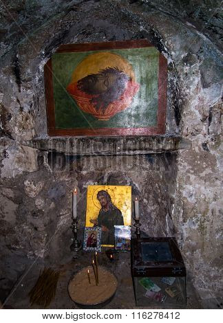 Sebastian, Israel - July 11 2015 R. Traditional Place Of The First Tomb Of St. John The Baptist Seba