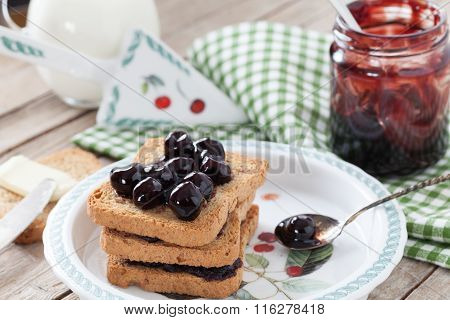 Breakfast With Rusks And Sour Cherries Jam