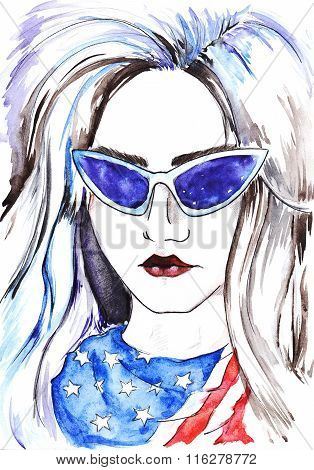 Watercolor Fashion Girl In Glasses And Scarf