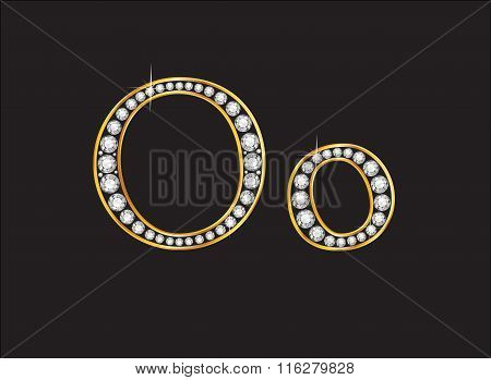 Oo Diamond Jeweled Font With Gold Channels