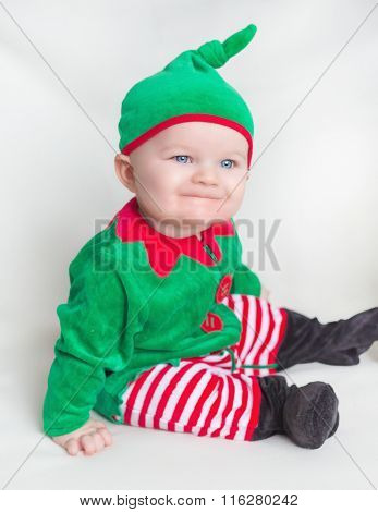 Little Boy In A Green Suit Merry Gnome Decorates Smile