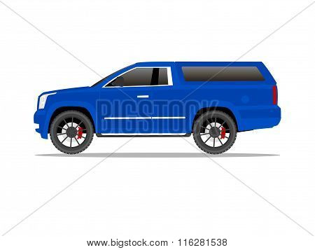 Blue Pickup Truck Two Door With Black Wheels And Cap