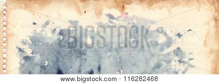 Vintage Retro Watercolor Music Sheet Background Texture Grunge