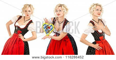 German bavarian woman in typical dress dirndl over white background. Oktoberfest concept