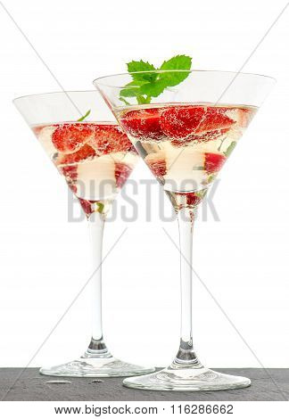 Strawberry Cocktail With Berries In Martini Glass