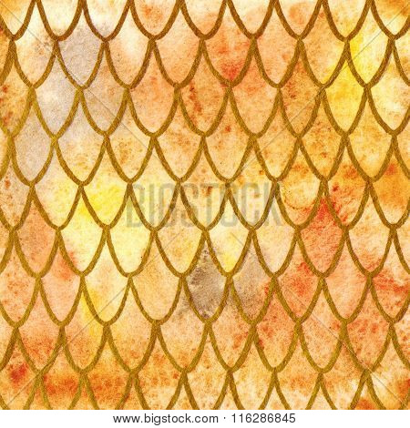 Dragon Skin Scales Yellow Orange Gold Pattern Texture Background