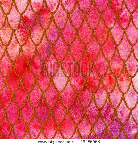 Dragon Skin Scales Red Gold Ruby Pattern Texture Background