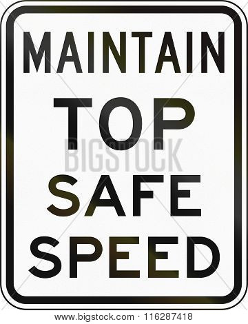 United States Mutcd Emergency Road Sign - Safe Speed