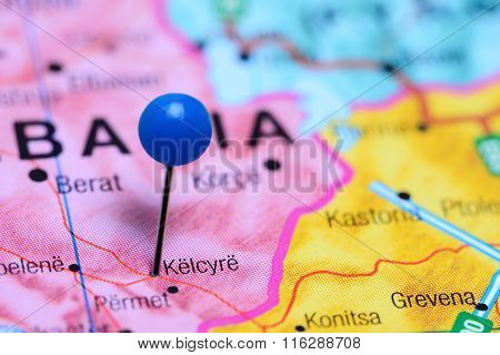 Kelcyre pinned on a map of Albania