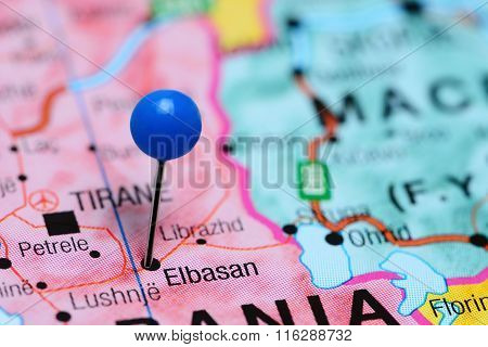 Elbasan pinned on a map of Albania