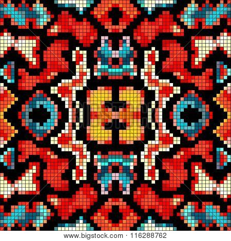 Pixels Beautiful Abstract Geometric Seamless Pattern Vector Illustration